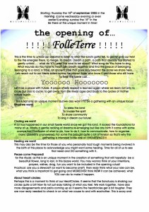 2005 Folleterre Opening Call